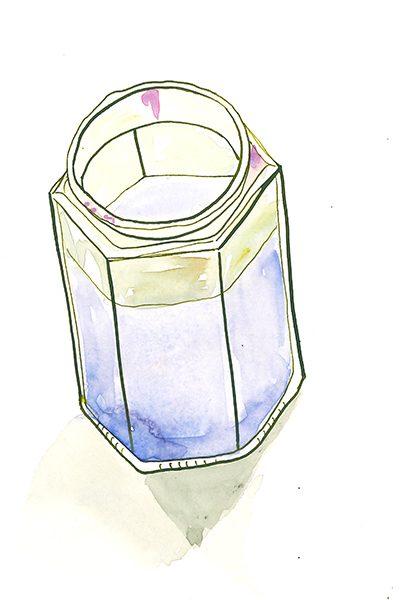 Reste-Wasserfarbenglas