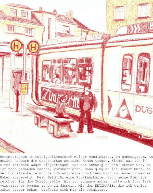 Straßenbahn mit Text